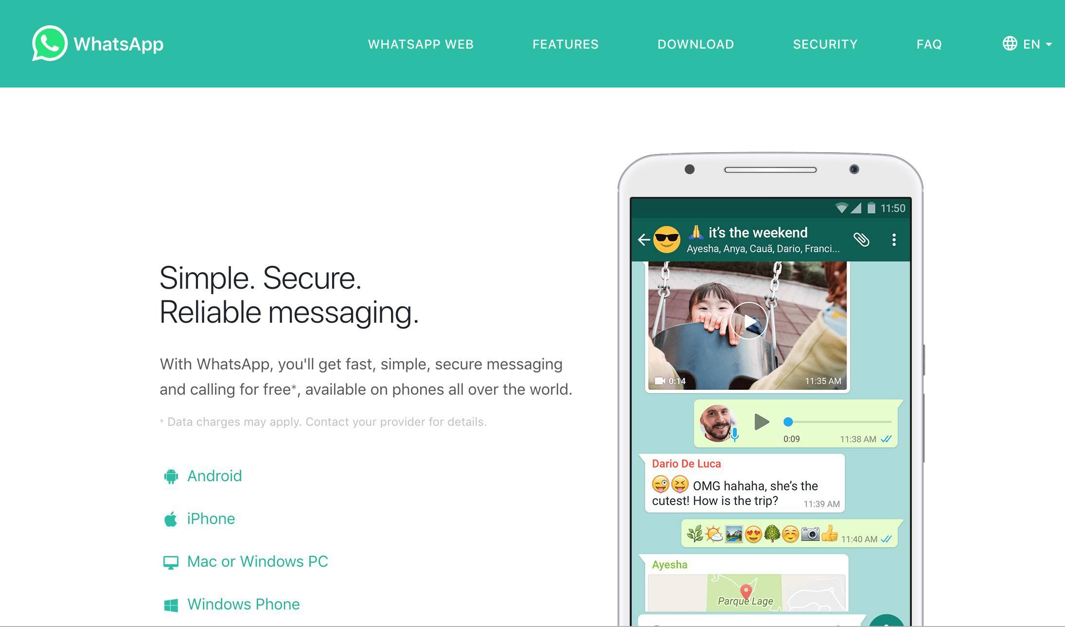 WhatsApp web site