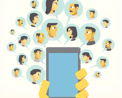 Illustration of a hand holding a cell phone with cartoon people in speech bubbles representing group messaging or contacts
