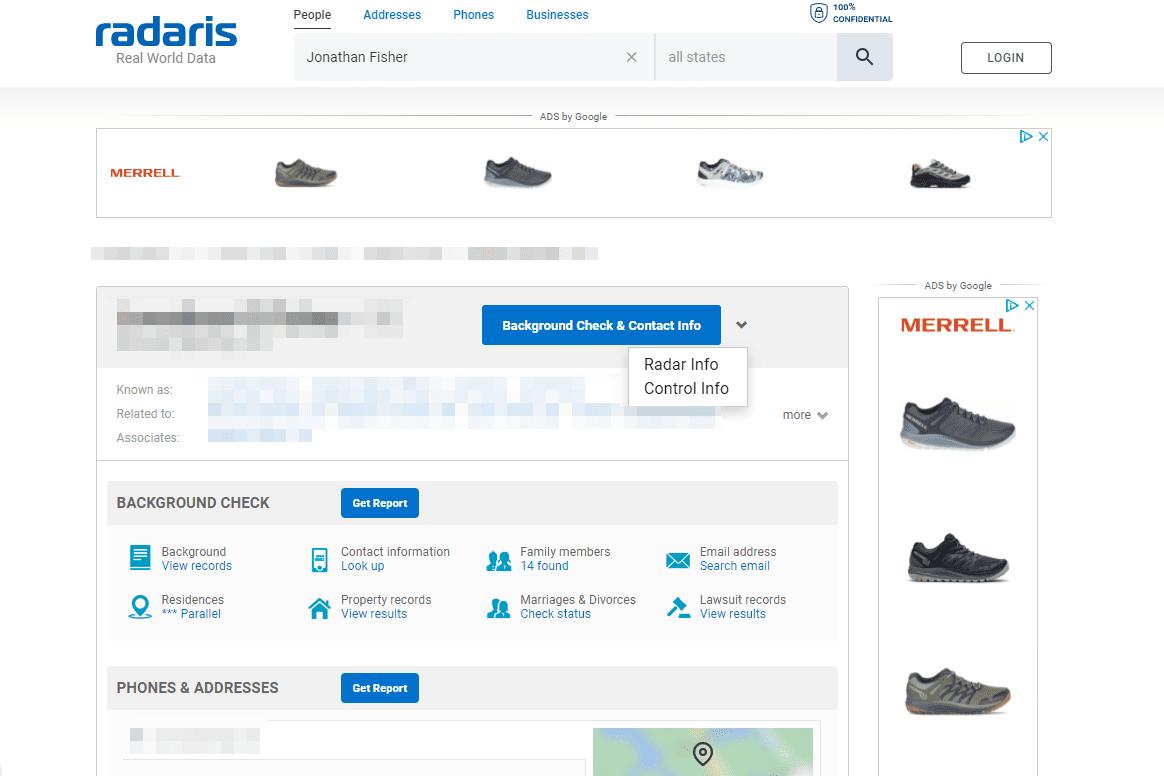 Radaris control info for profile