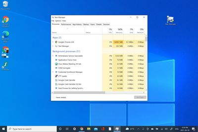 Using Task Manager on Windows 10.
