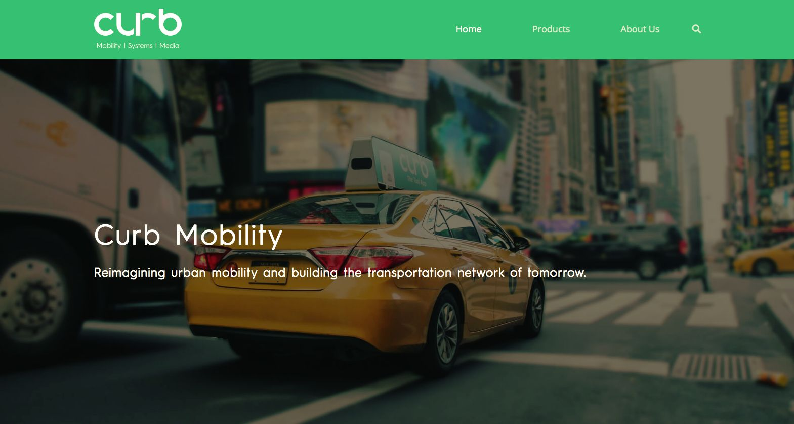 Curb taxi app home page