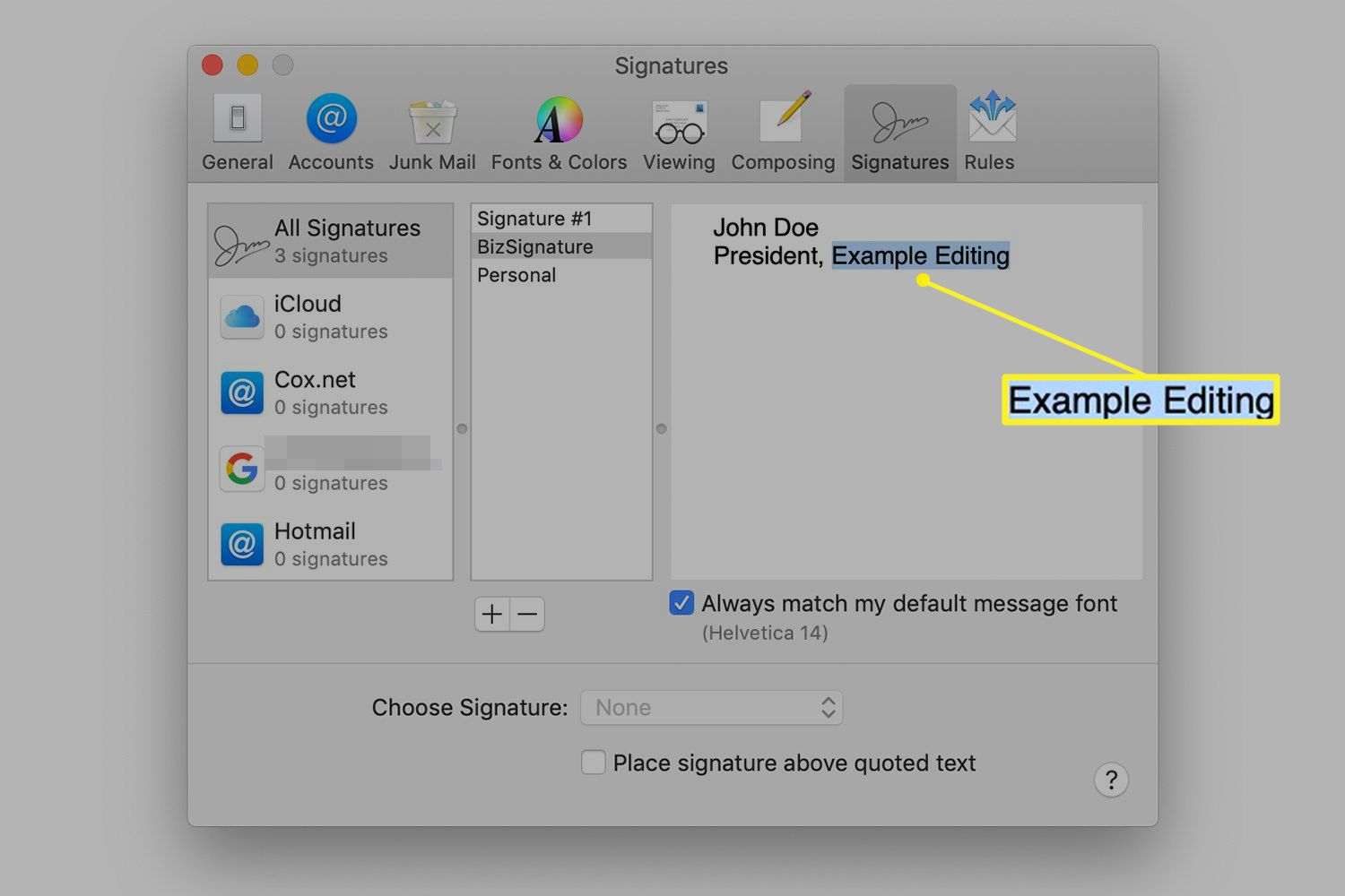 Company name highlighted for macOS Mail signature link