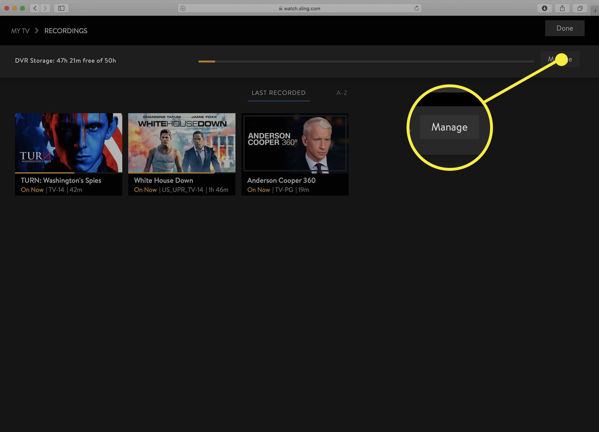 Screenshot of the Sling TV Manage DVR screen.
