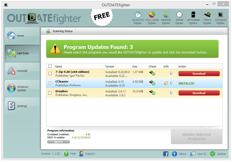 OUTDATEfighter v1.1.88 in Windows 7