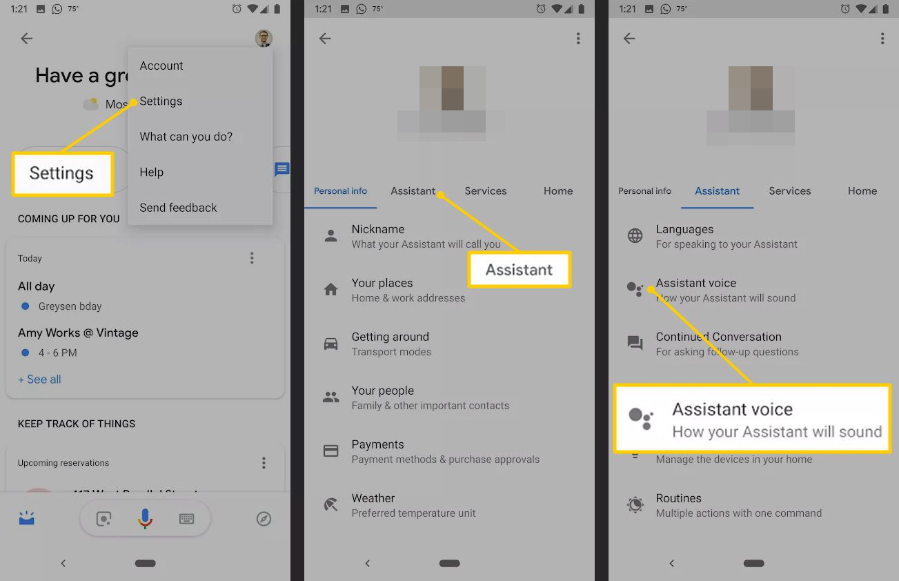 Settings, Assistant, and Assistant voice buttons on Android