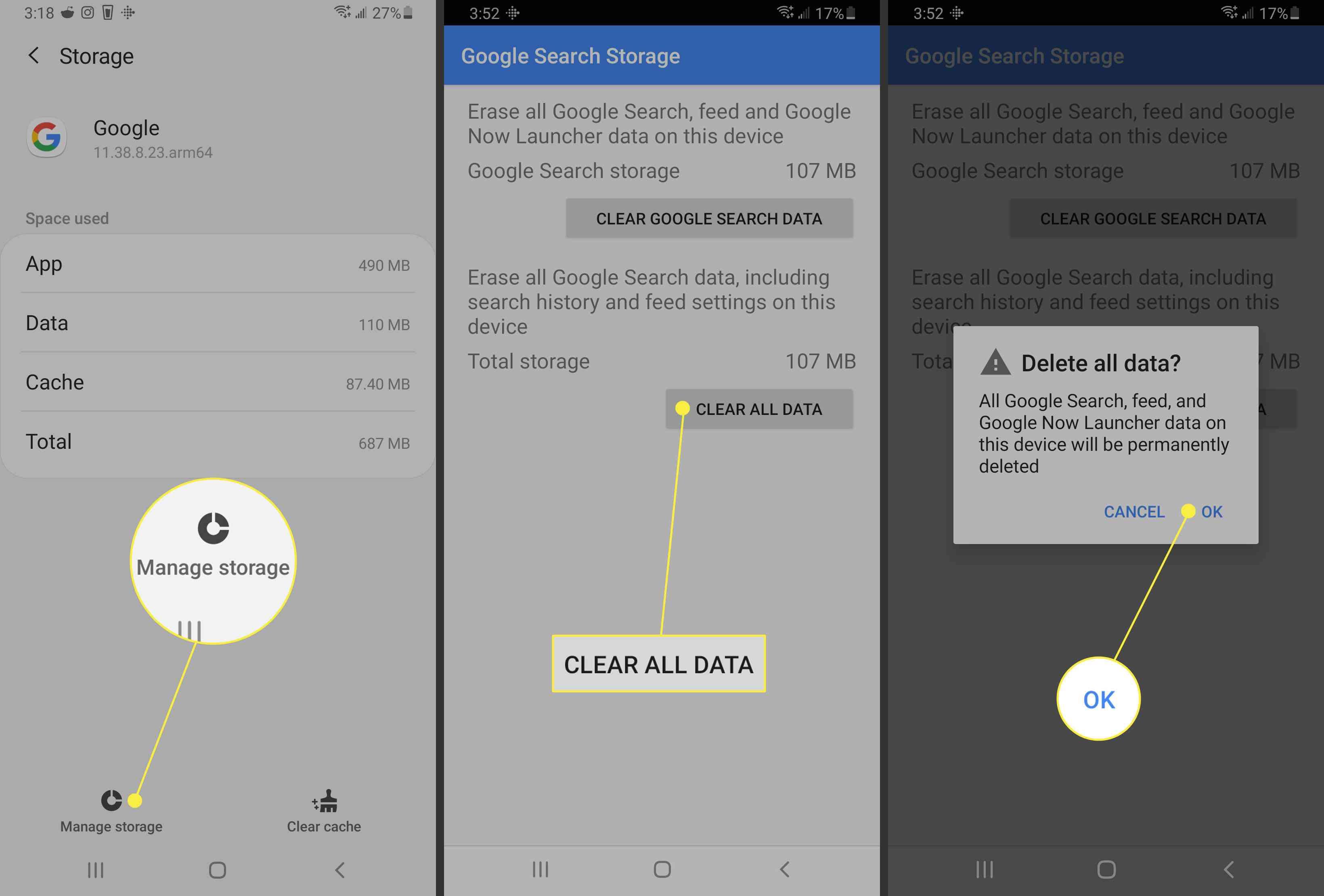 Google app delete all data confirmation.