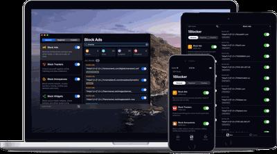 1Blocker screenshots on Mac, iPhone, iPad