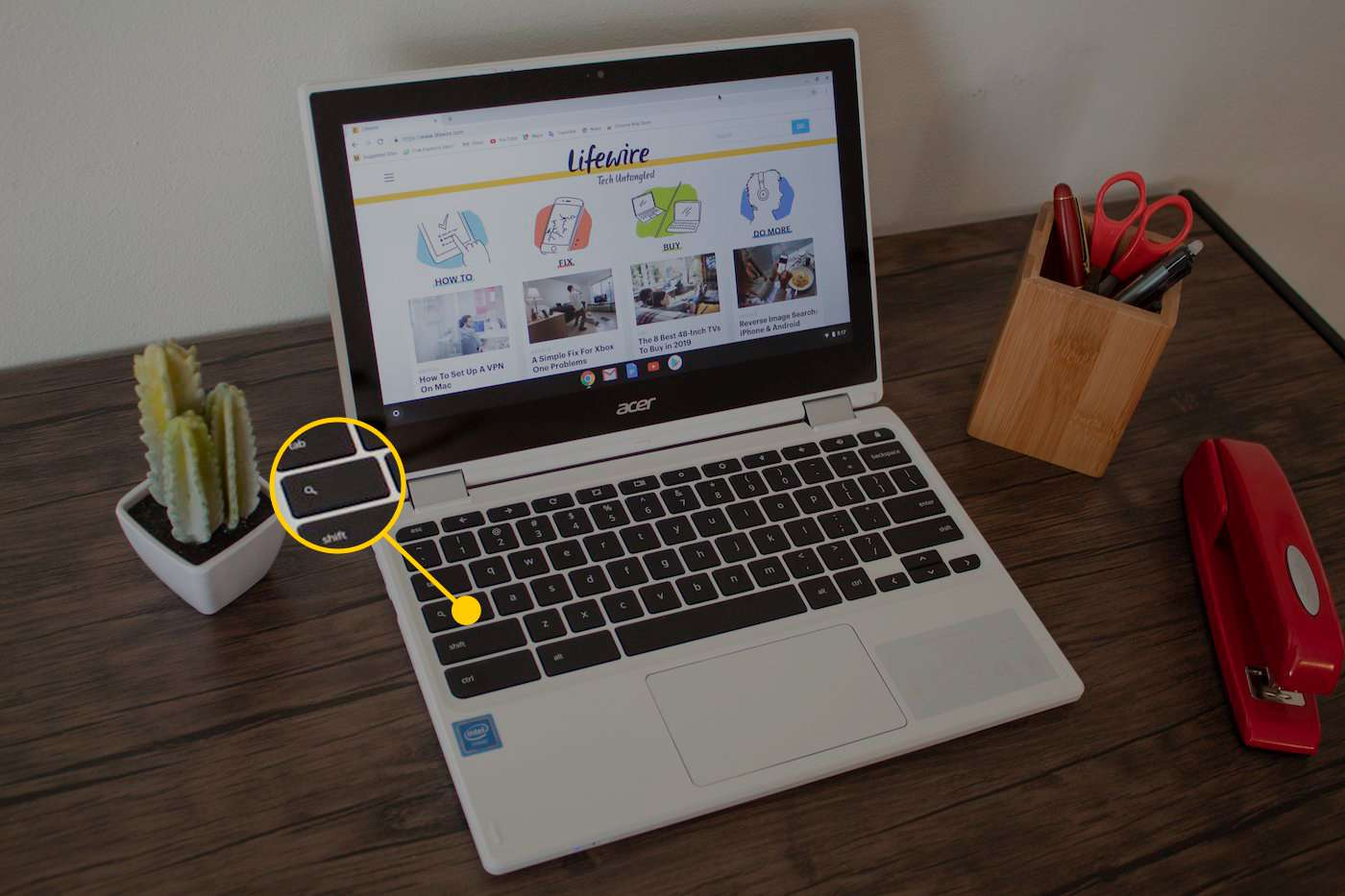 The search key on the Chromebook keyboard.