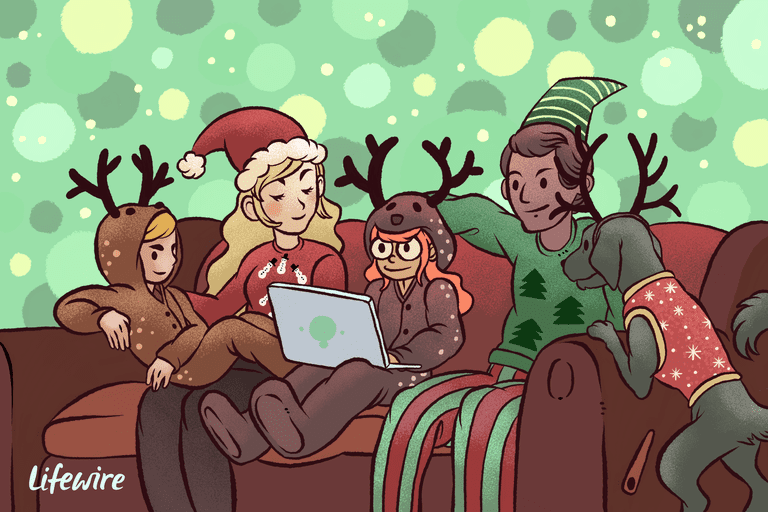 Illustration of a family dressed in novelty Christmas outfits on a couch watching movies on a laptop