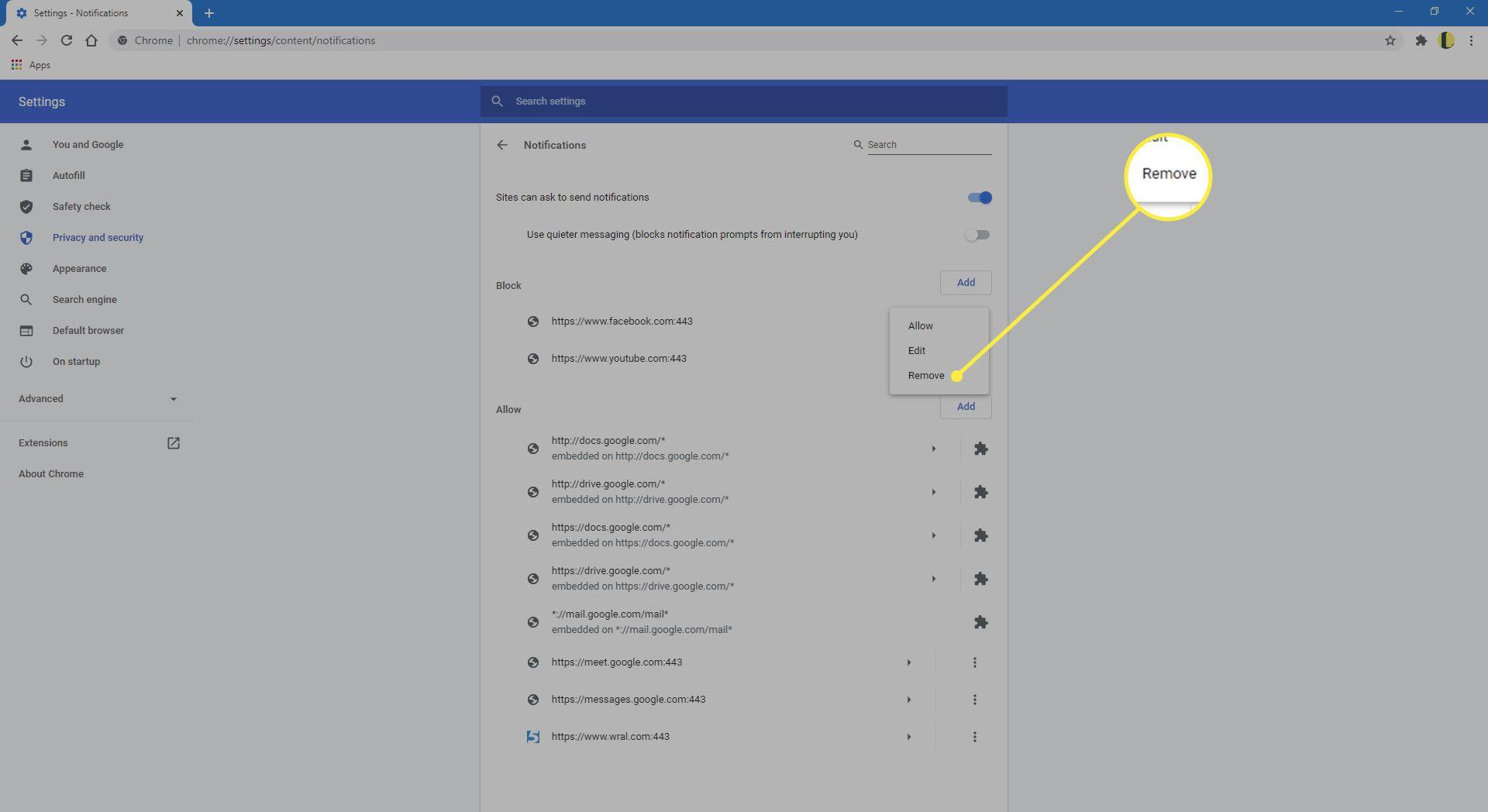 Chrome showing Notifications block list