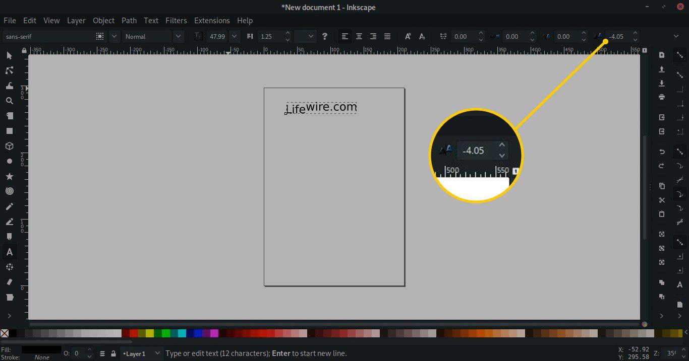 Vertical kerning tool in Inkscape