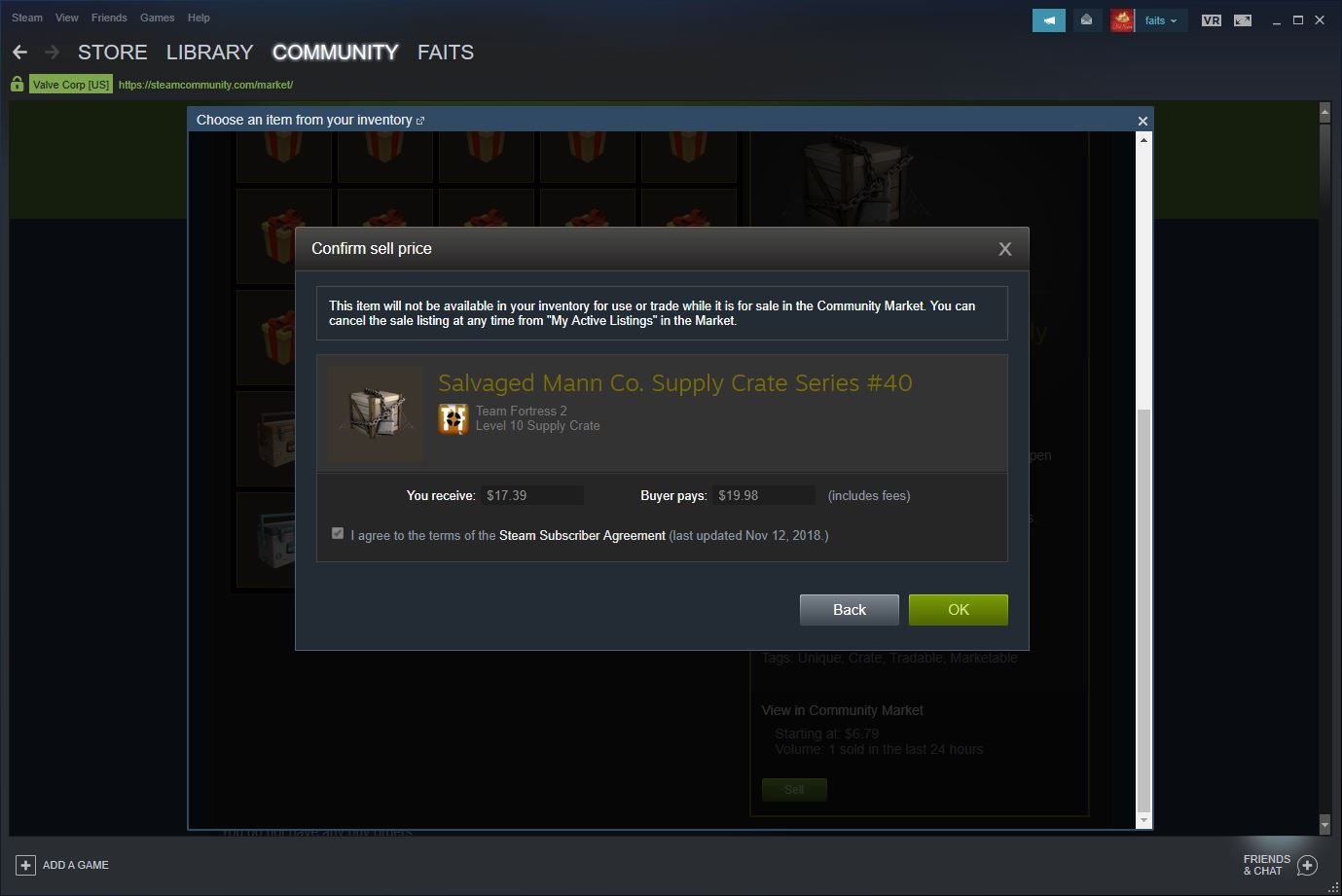 Steam Community Market price confirmation page.