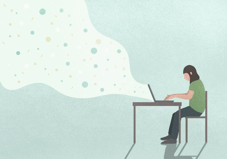 Illustration of person sitting at desk using laptop with ideas coming out of it representing stories and blogs