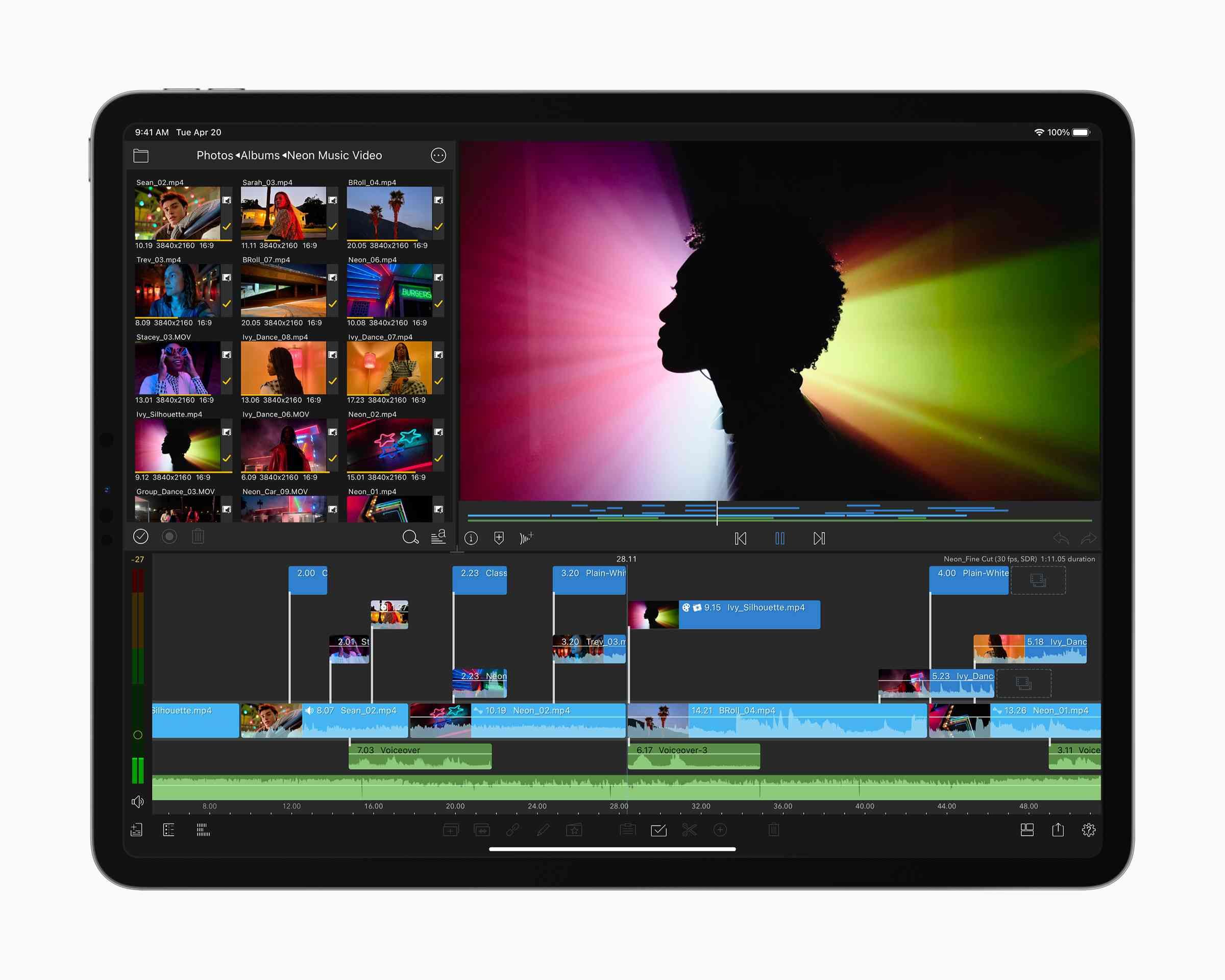 M1 iPad Pro running the LumaFusion video editing app