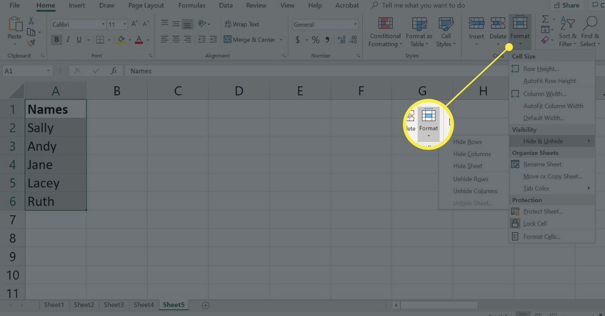 Format in Cells group of Home tab