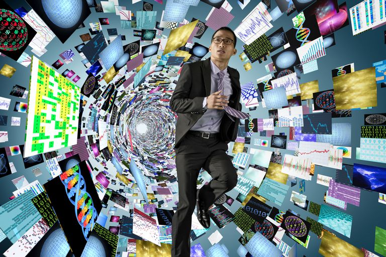 Man in tunnel of digital information