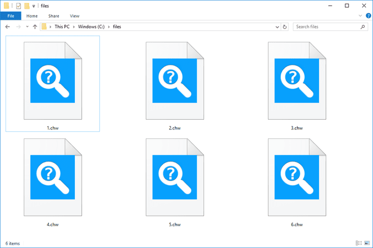 Screenshot of several CHW files in Windows 10