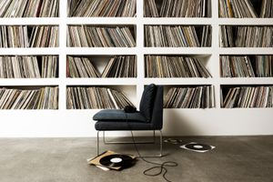 A collection of vinyl records on shelfs