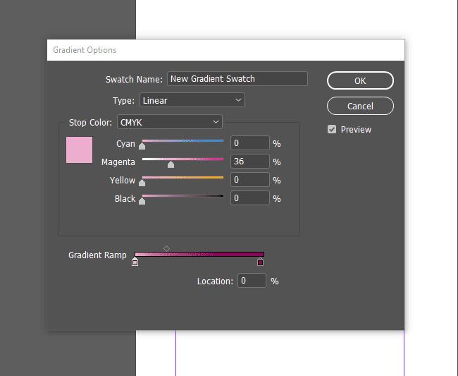InDesign gradient options