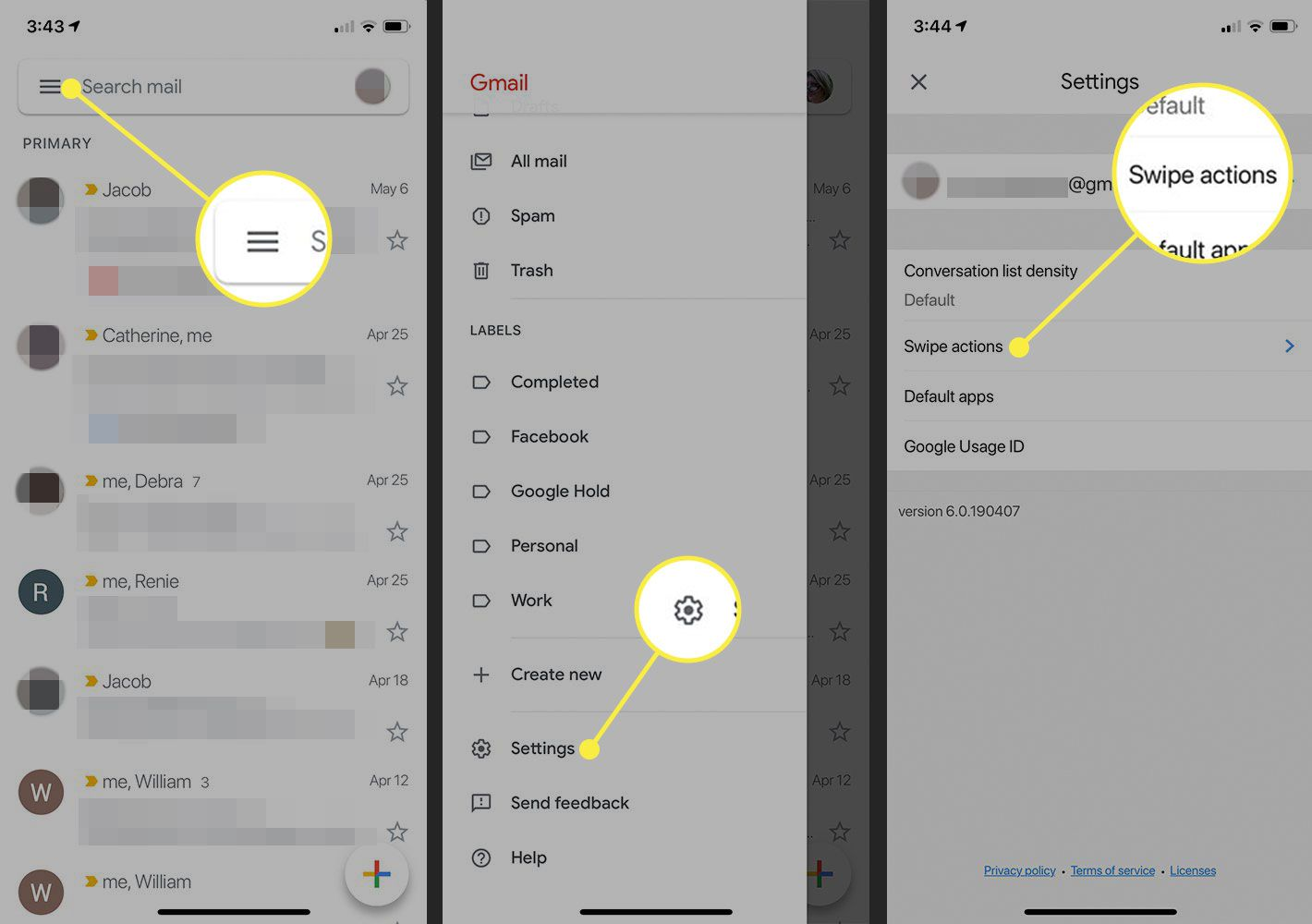 The Gmail app for iOS showing Settings and Swipe Actions