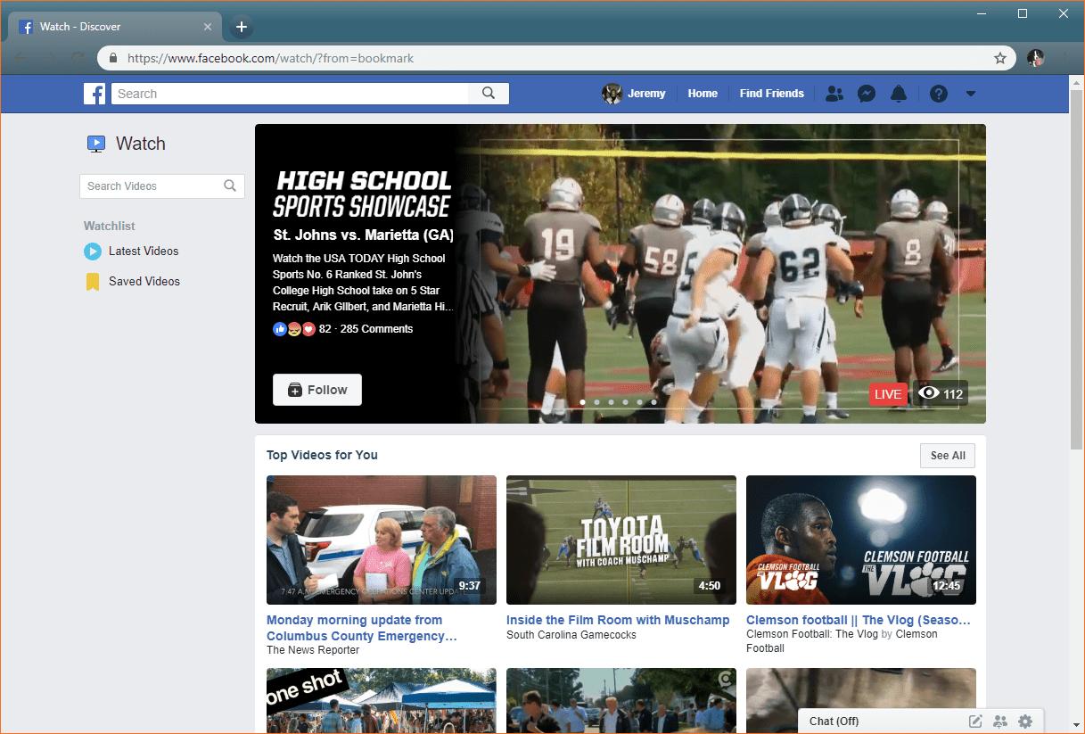 screenshot of Facebook Watch