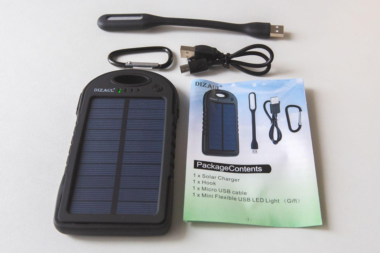 Dizaul 5000mAh Portable Solar Power Bank
