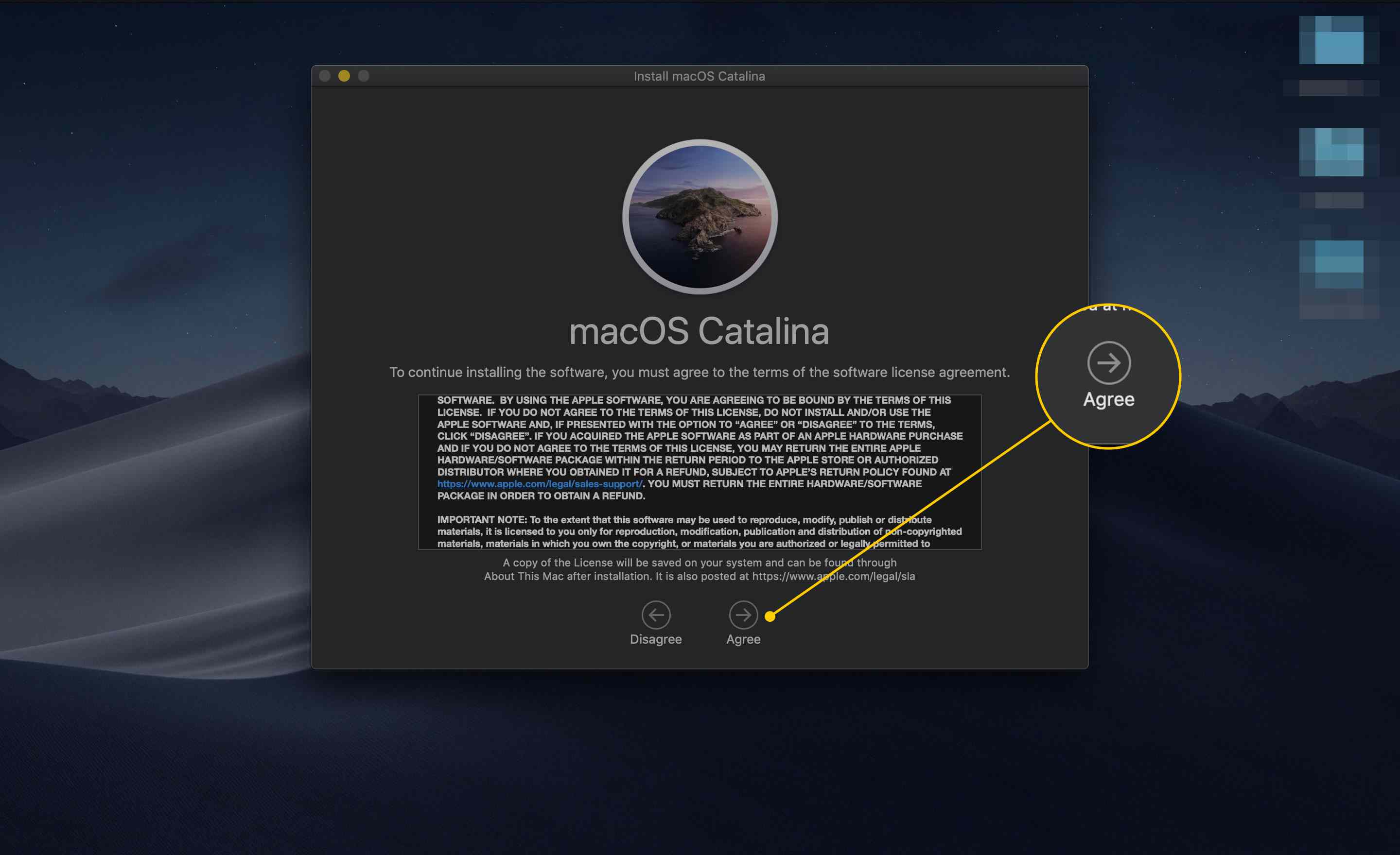 Agree button on the macOS Catalina SLA