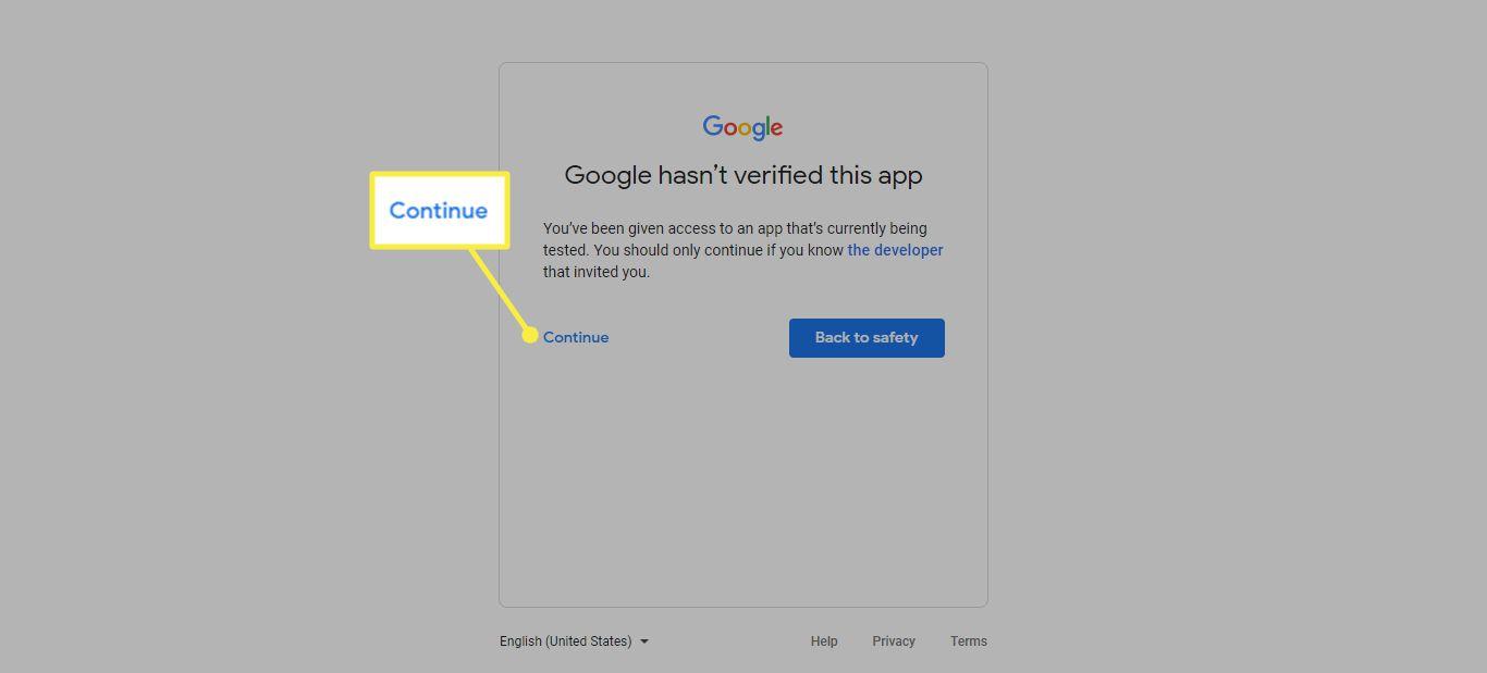 Continue in Google app verifciation