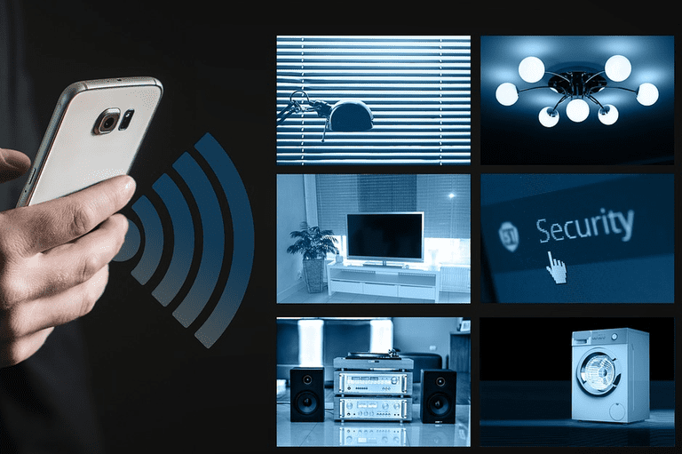 Photo of using a phone to access smart home devices.