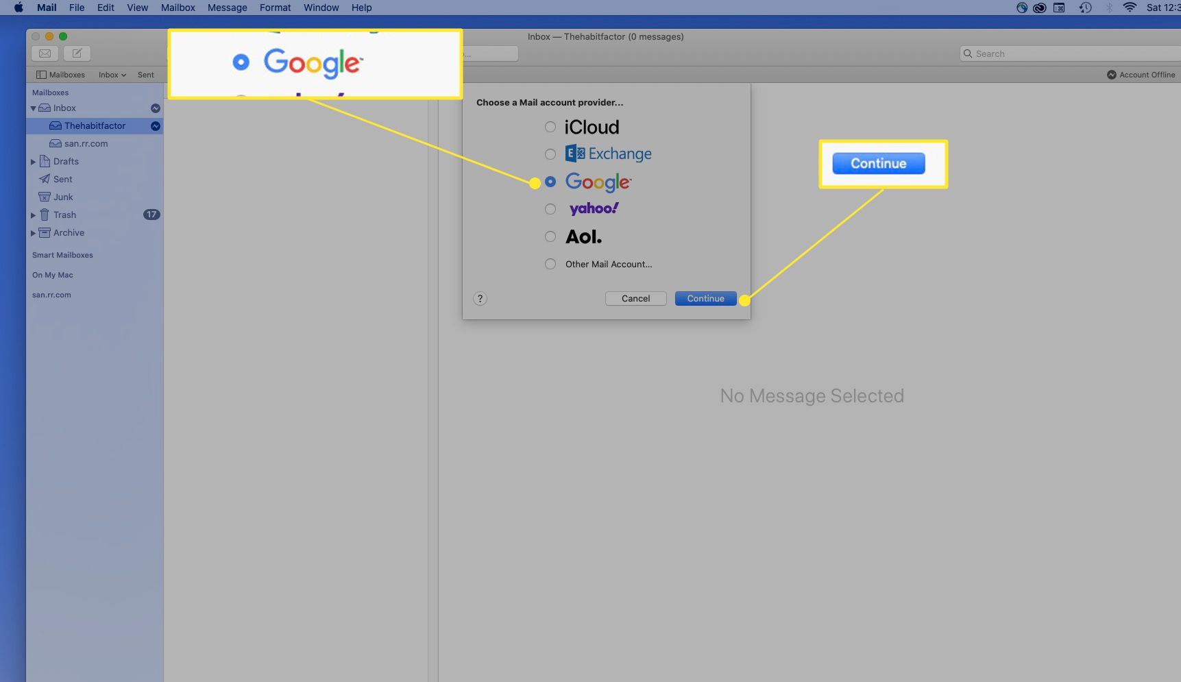 Google option in Add Account for Mail