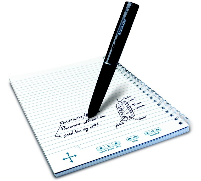The Echo Smartpen records lectures and syncs audio with notes you write on special coded paper.