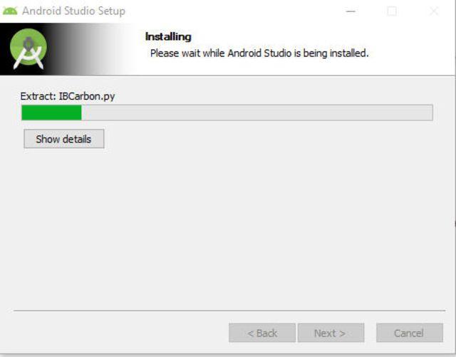 screenshot of Android Studio installation process