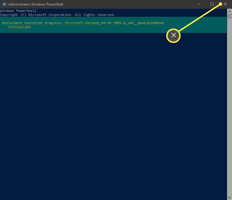 Once complete, close PowerShell by clicking on the X in the top-right corner