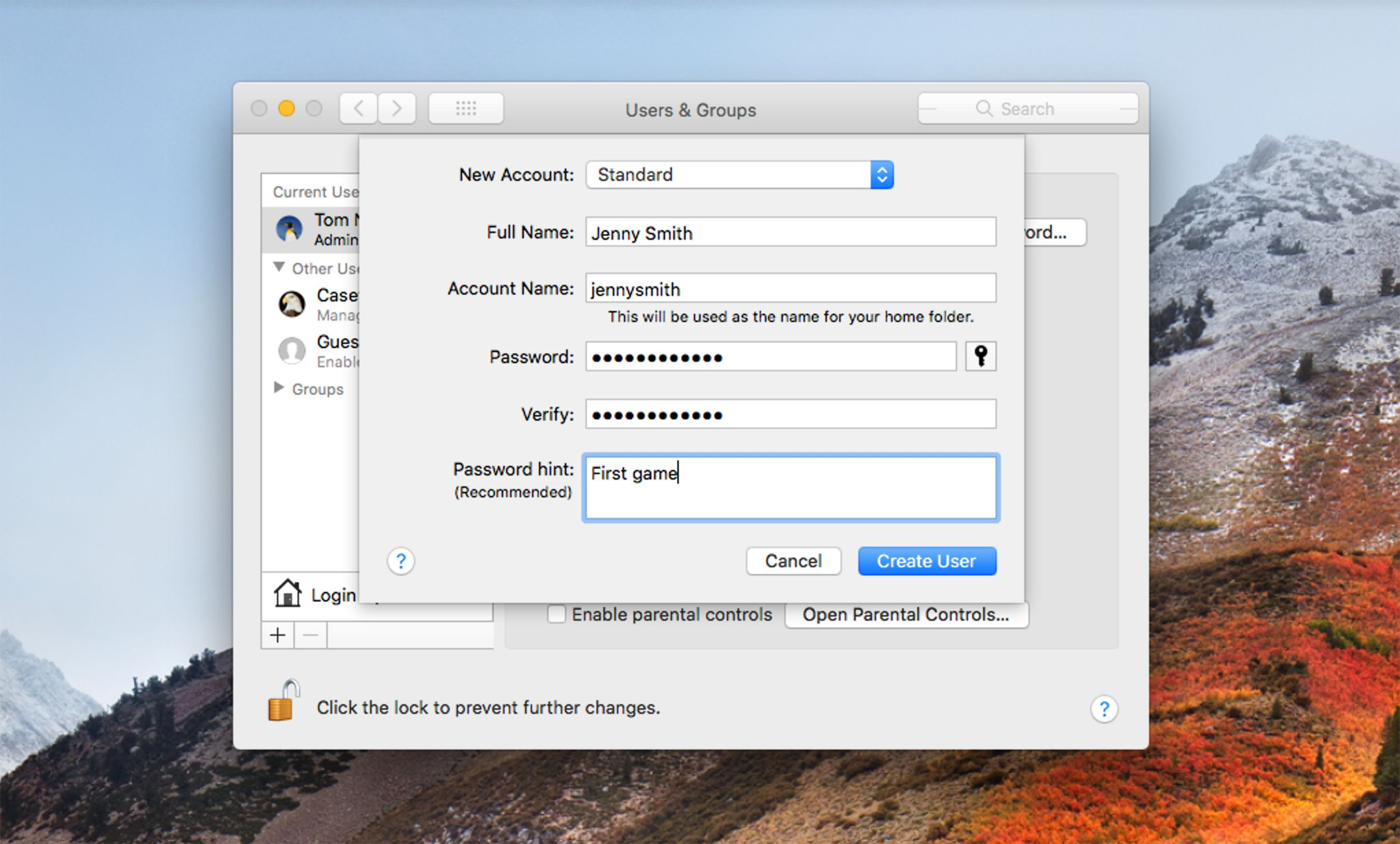 how to create mac user account