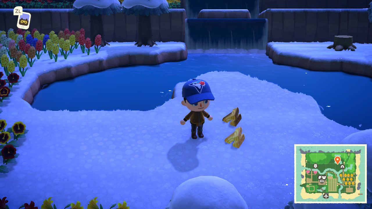 Collecting wood and softwood in Animal Crossing: New Horizons
