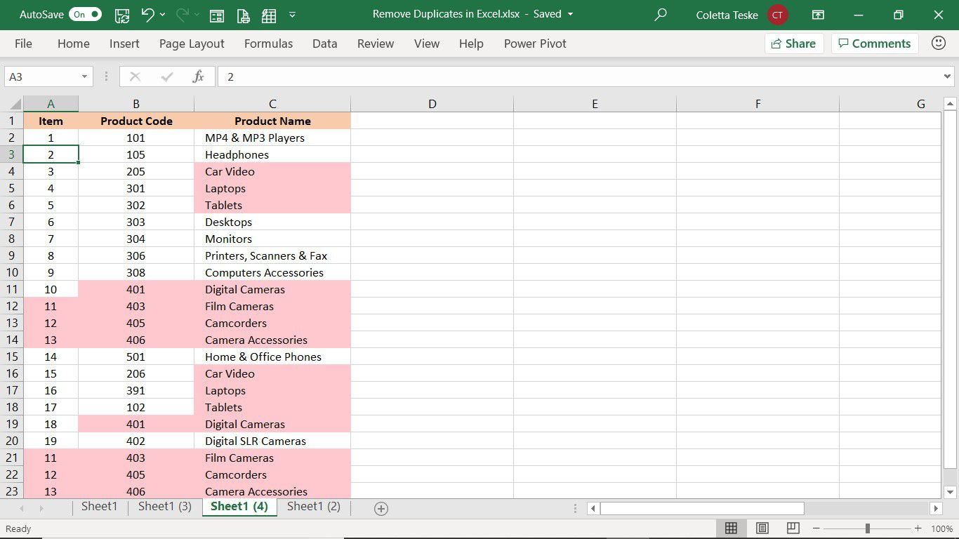 Selected data to filter for duplicates in Excel