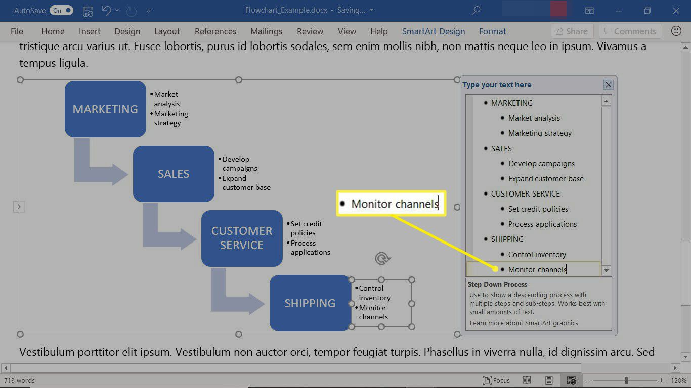 A completed SmartArt graphic flowchart in Microsoft Word