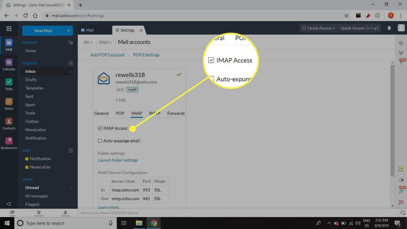 A screenshot of Zoho Mail with the IMAP Access option highlighted