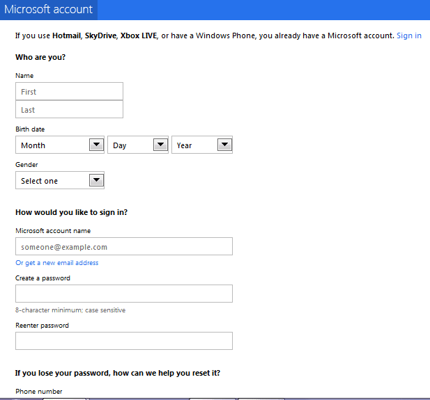 Microsoft Account Setup