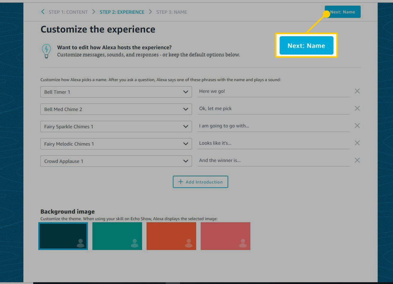 Screenshot of Customize Experience page of Alexa blueprint