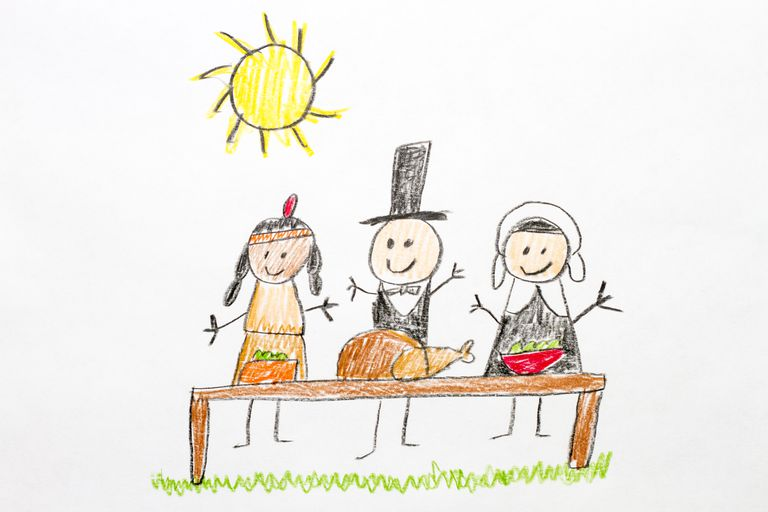 Kids drawing of Thanksgiving