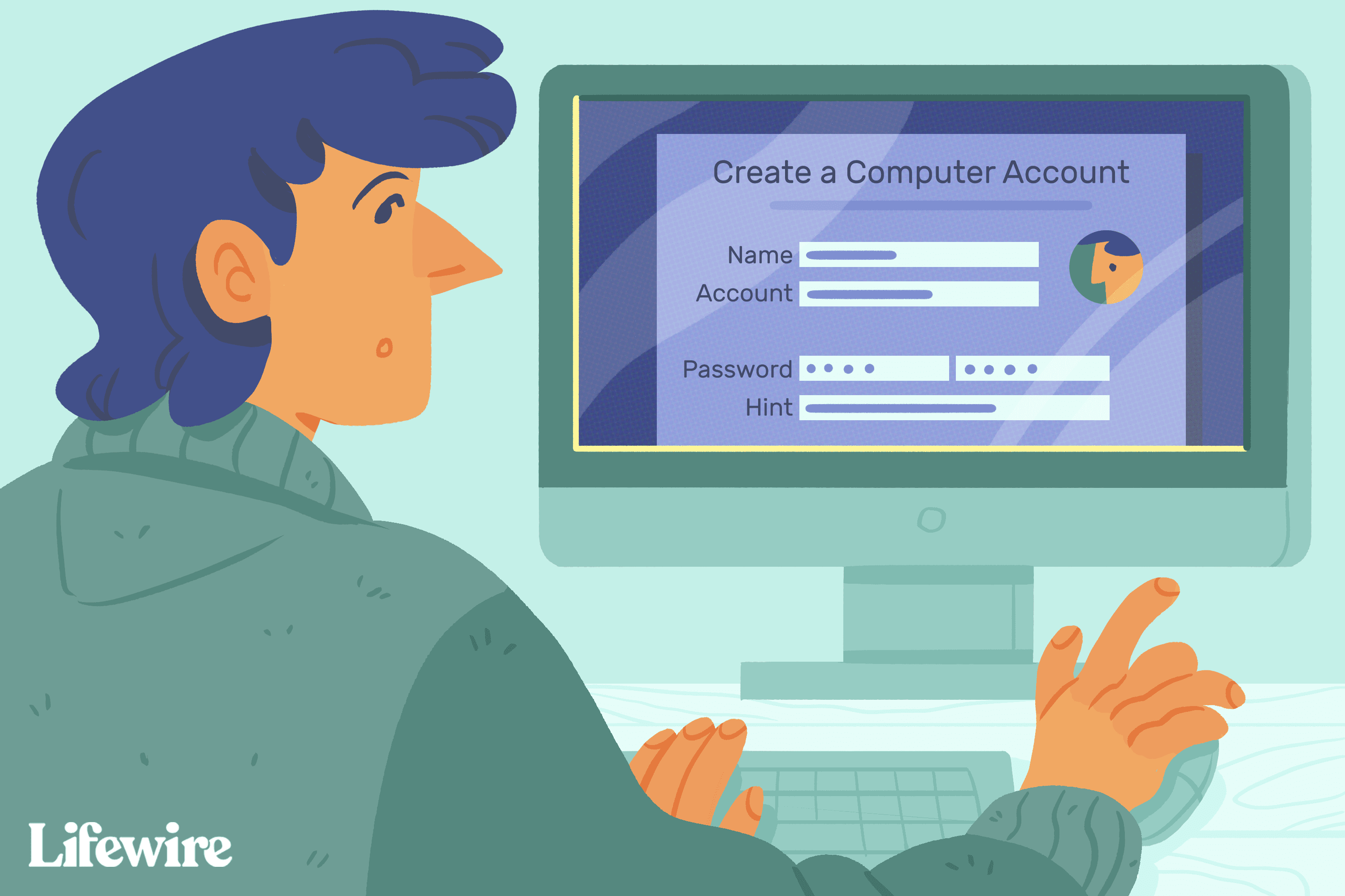 Person creating a new admin account on a Mac