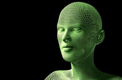 Green 3D model of a human face