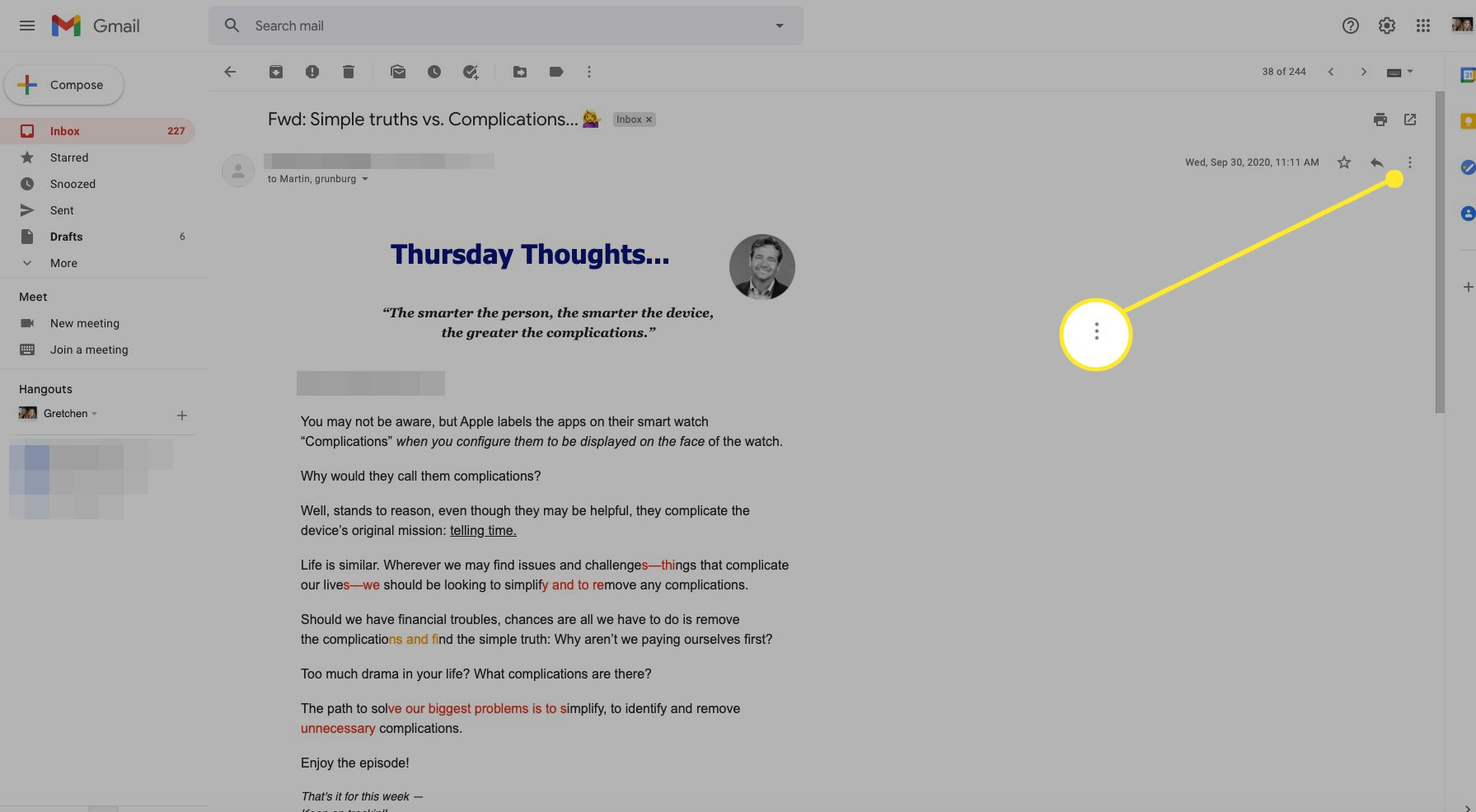 Gmail message with More (three dots) highlighted
