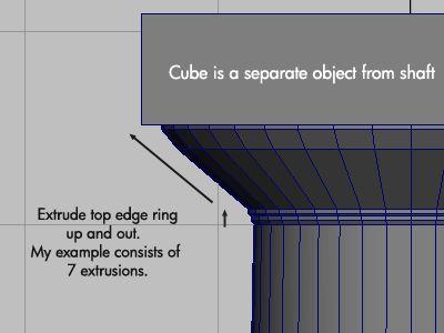 Modeling the column's cap.