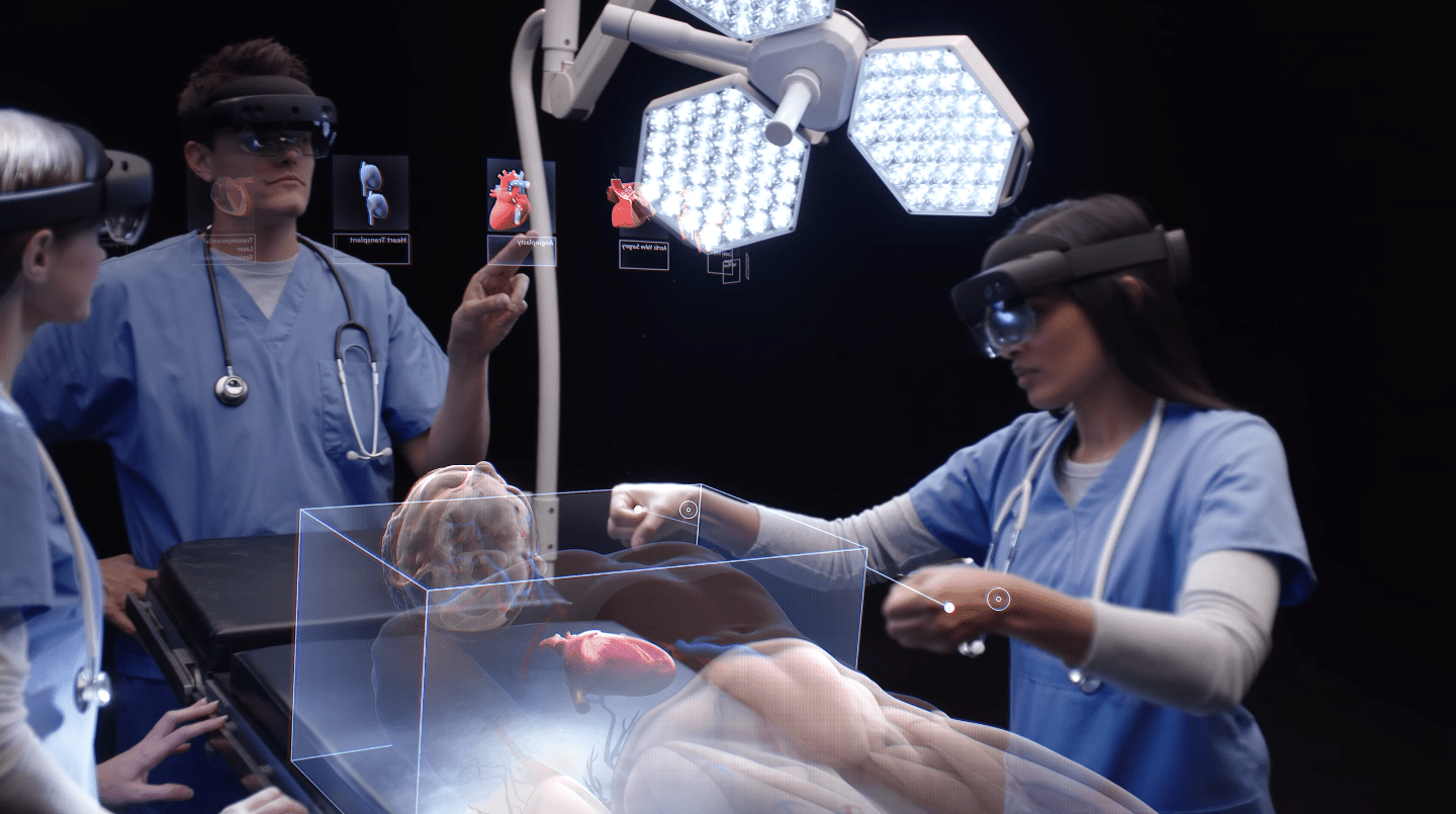 Surgeons using Microsoft's HoloLens headsets to review digital assets in the real world.