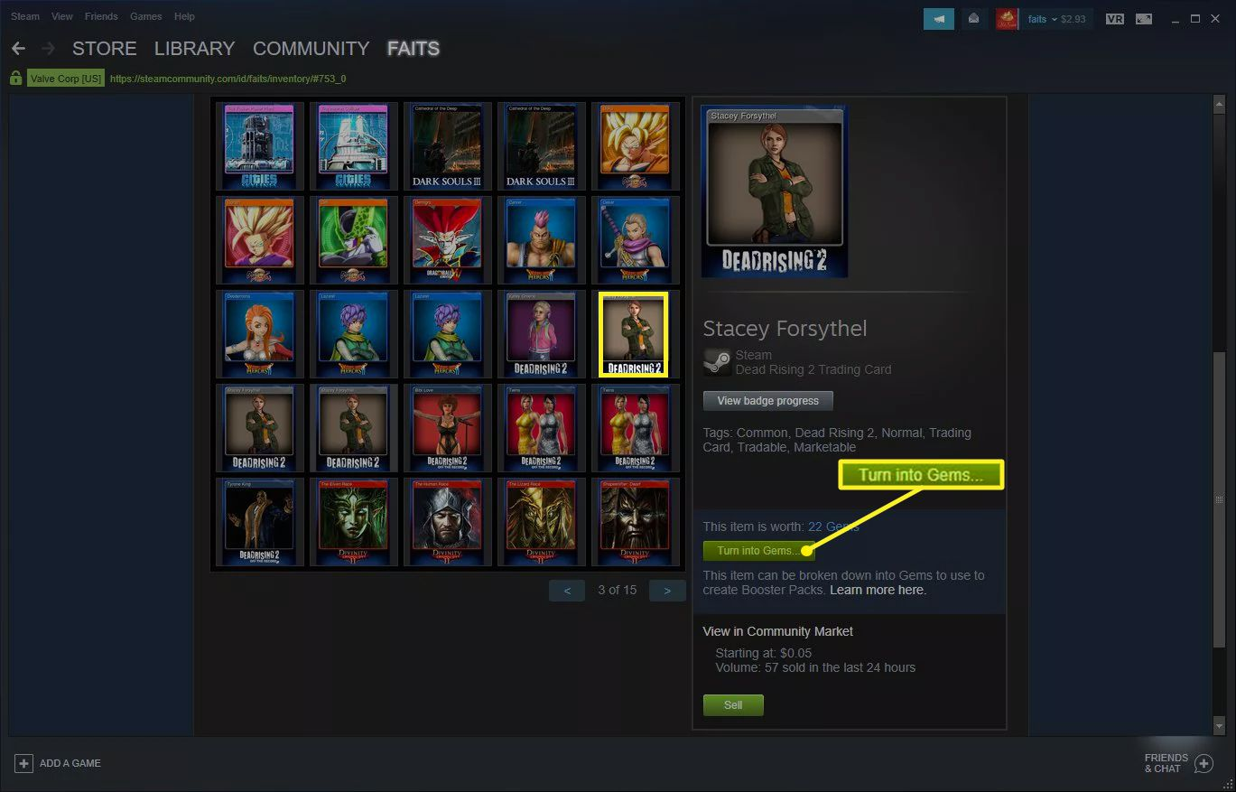 Steam Inventory screen with Turn into Gems highlighted