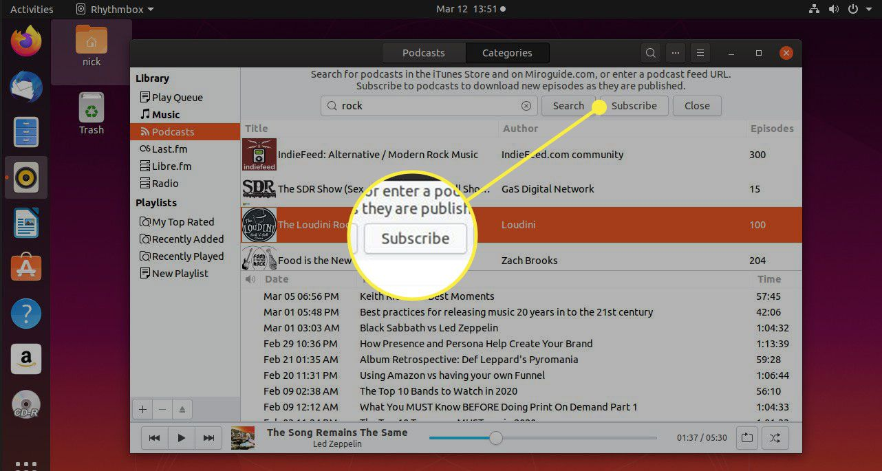 A screenshot of Rhythmbox's podcasts section with the Subscribe button highlighted