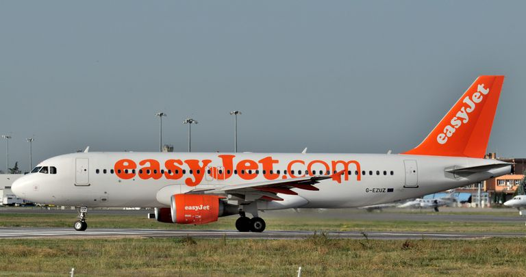 """A commercial airplane decorated with the domain name """"easyjet.com"""""""