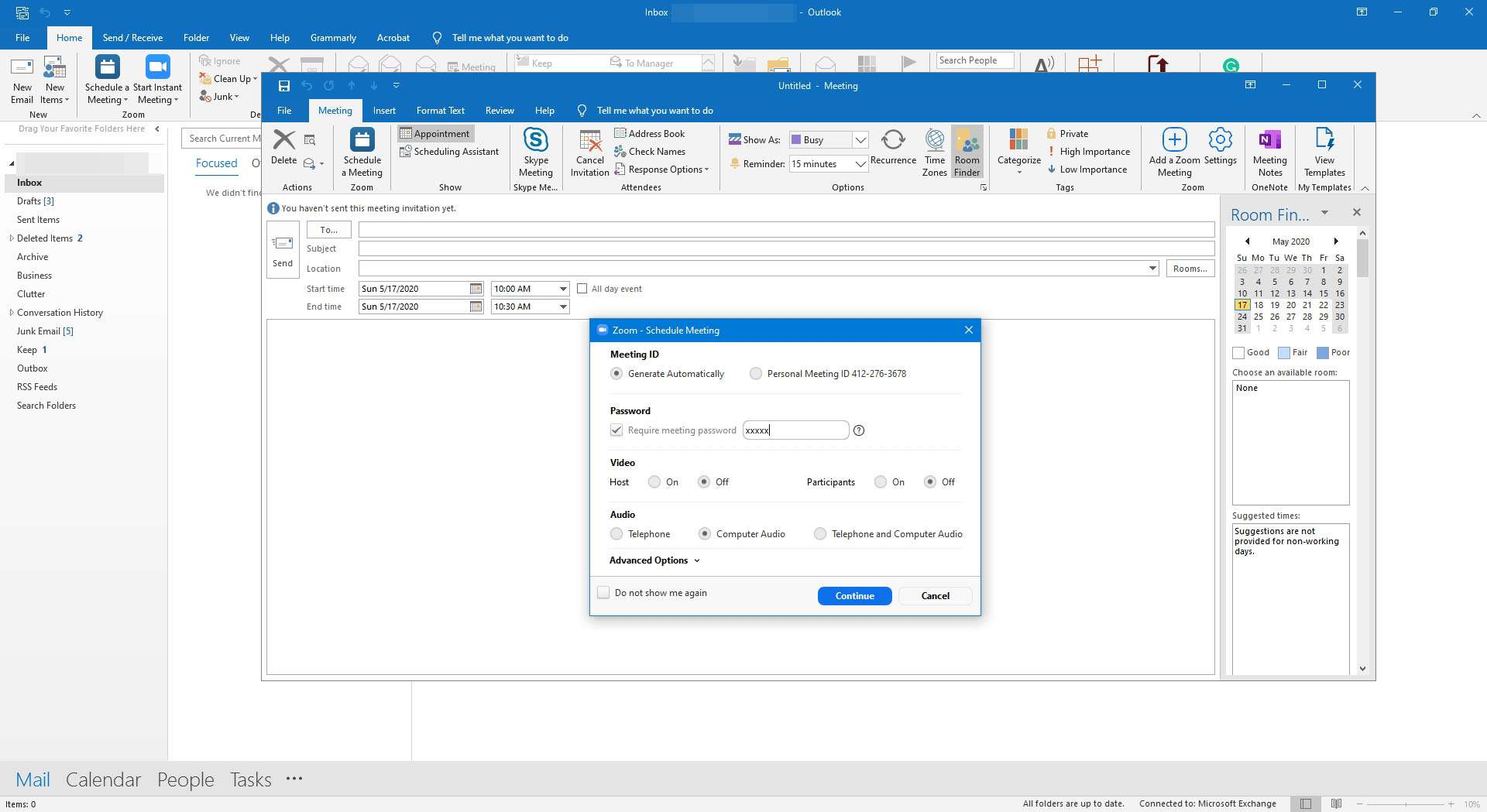 Setting up a Zoom meeting in Outlook.